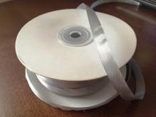 Szatén szalag, szín: ezüst, szélesség: 10mm, 1 tekercs: 100m, Egységár: 17,0 Ft/méter*